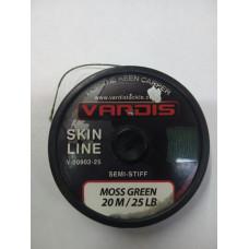Поводковый материал в оплётке Vardis SkinLine 25lb 20м Moss Green
