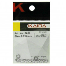 Кольца заводные Kaida 6088 №0.8/6мм тест 23кг