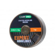 CARP PRO Поводковый материал в оболочке коричневый 25lb 7м