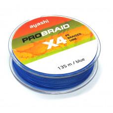Плетёнка Ayashi ProBraid x4 0,12 135м 6,4кг синий