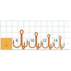Тройник Gurza Round treble hook ST-36 UV Orange №14 (1шт)