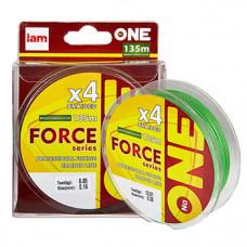 ШНУР IAM №ONE FORCE X4 0,16мм 135м 6,8 кг BRIGHT-GREEN