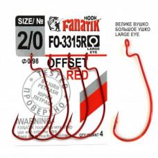 Офсетный крючок Fanatik FO-3315 Red №2/0
