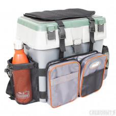 Сумка-рюкзак СЛЕДОПЫТ для зимнего ящика универ. 4 кармана цв. серый