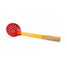 Черпак пластиковый с деревянной ручкой (диаметр 90мм)